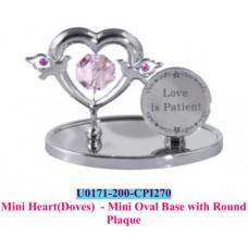 Mini heart(Doves)-mini oval base with round plaque