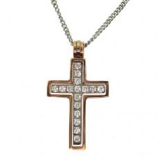 2合1精鋼鑲CZ IP 金框十字架吊咀