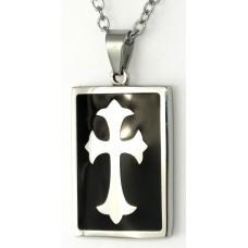 精鋼長方形黑膠十字架卜面吊咀